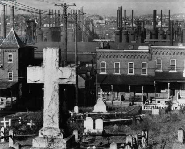 Graveyard, Houses and Steel Mill, Bethlehem, Pennsylvania, 1935, printed 1976 (gelatin silver print)