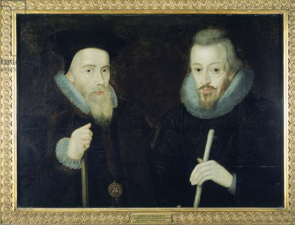 Double portrait of William Cecil, 1st Baron Burghley and Robert Cecil, 1st Earl Salisbury, after 1606 (oil on panel)