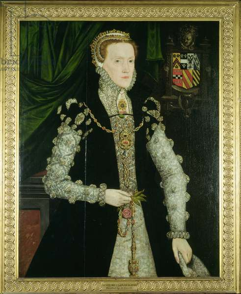 Mildred, Lady Burghley (oil on panel)