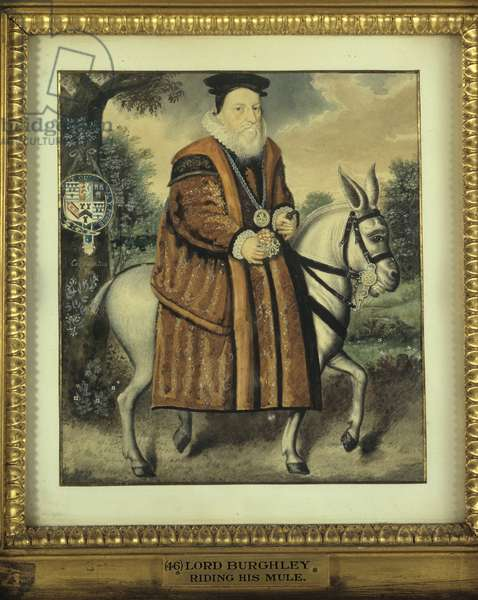 William Cecil, 1st Baron Burghley, riding his grey mule (w/c on paper)
