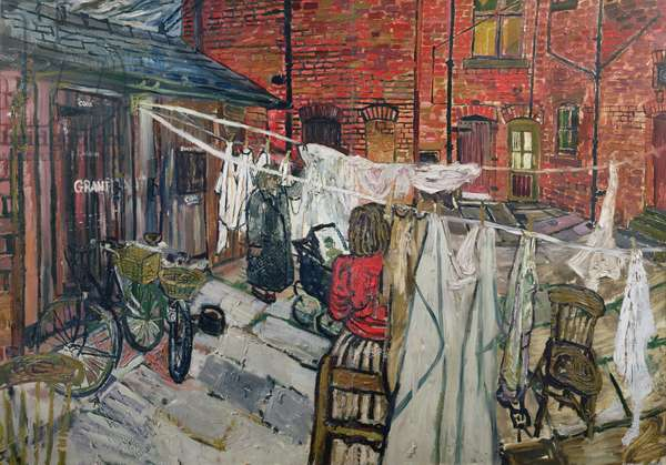 Back yard with Laundry (oil on canvas)