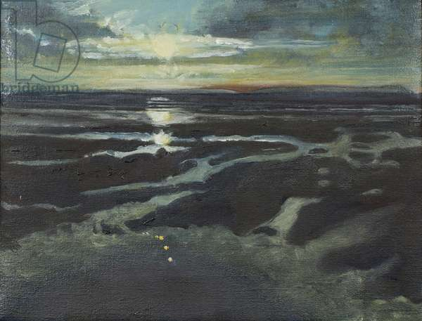 Sunset at Bracklesham Bay,1997 (oil on canvas)