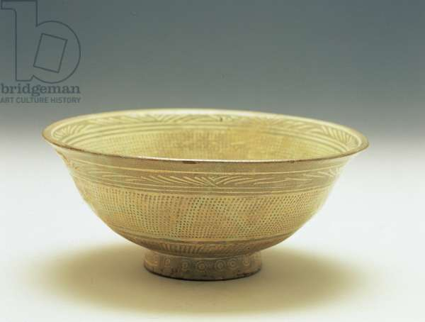 Buncheong bowl with stamped floral design, early Joseon dynasty, 15th-16th century (ceramic)