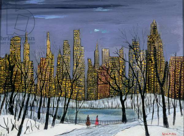 Across Central Park, New York (oil on canvas)