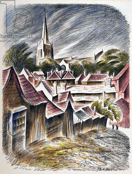 Thaxted Church, c.1951 (litho)