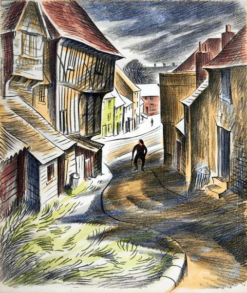 Thaxted Guildhall and Fishmarket Street, c.1951 (litho)