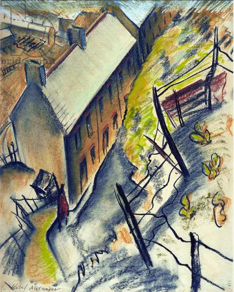 Miners' Houses, Trealaw, 1944 (pastel on paper)