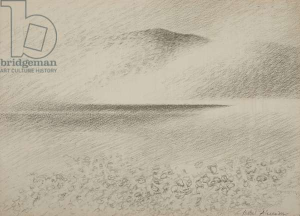 Rain over Rum, c.1979 (pencil on paper)