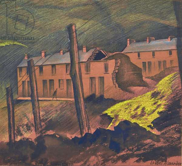 Condemned Houses, Blaencwm, 1943 (w/c & crayon on brown paper)