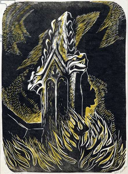 Pinnacle, Thaxted Church, c.1951 (linocut)