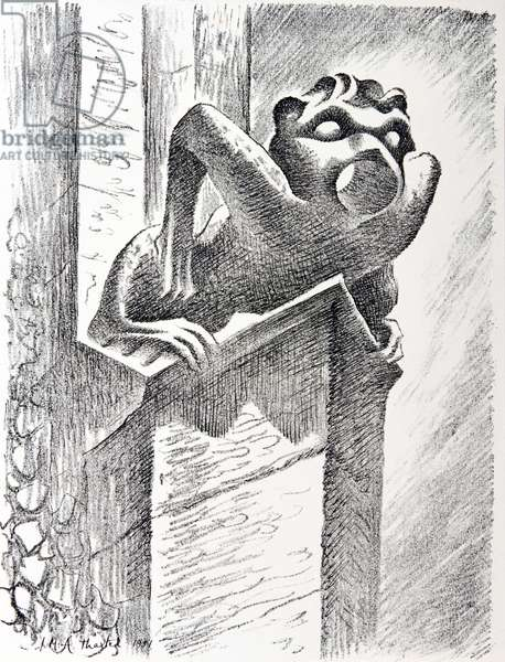 Gargoyle, Thaxted Church, c.1951 (litho)