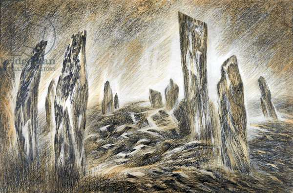 Stones of Callanish, Lewis, c.1983 (pencil & w/c)