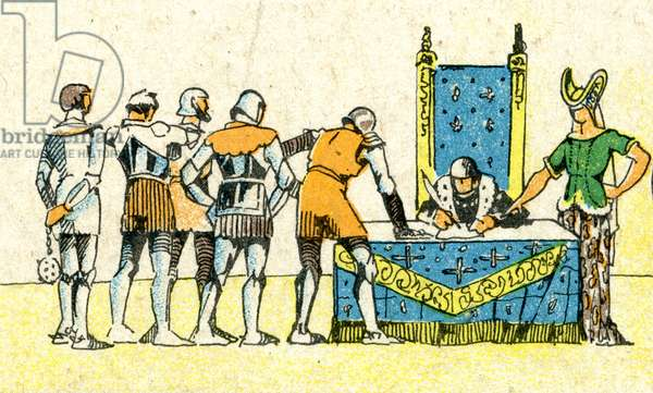 Charles VI and Henry V signing the 'Treaty of Troyes' in 1420