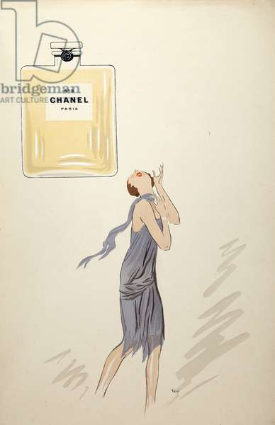 """Chanel number 5 in """" White Bottoms"""" . 1927 by Sem"""