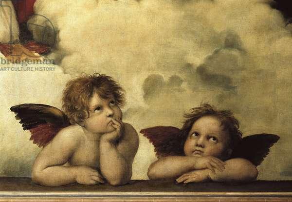 """La Madone sixtine"" Detail shozing two cherubs from a fresco"