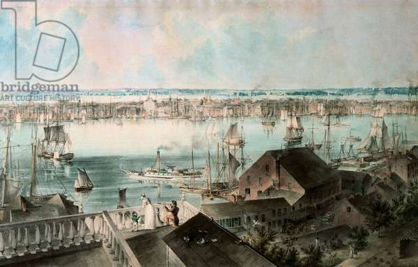 View of New York, United States, from the heights of Brooklyn, c. 1836 (watercolour)