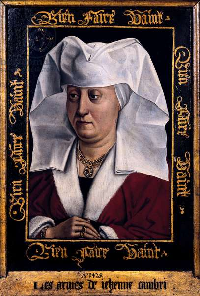 """""""""""Portrait de Marie de Pacy"""""""" Peinture de Robert Campin, maitre de Flemalle (1378-1444) 1415-1440 Tournai. Musee des Beaux Arts Belgique"""