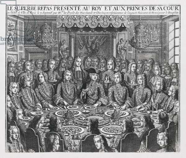 View of the great banquet given by the provosts of the merchants and aldermen in honour of the birth of the dauphin Louis-Ferdinand of France, the eldest son of Louis XV, King of France, and Marie Leszczynska on 4/09/1729, 18th century (engraving)