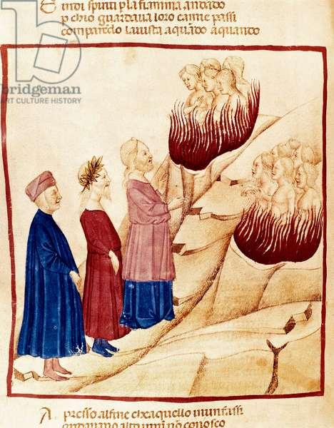 Purgatory: Dante and Virgil, miniature, 14th century