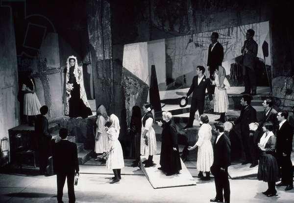"Performance of ""Bodas de sangre"" (Blood Wedding) by Federico Garcia Lorca (1898-1936) at the Teatro de Bellas Artes, performed by Paquita Rico and Pepita Serrador, 1962 (b/w photo)"