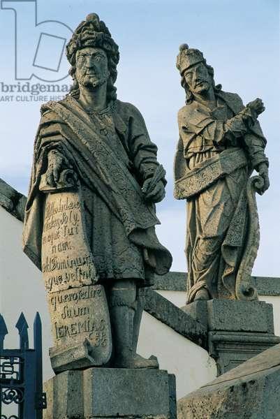 The prophets Jeremiah and Ezekiel, Church of Bom Jesus do Matosinhos, Congonhas do Campo, Brazil, 1800-1805 (stone sculpture)