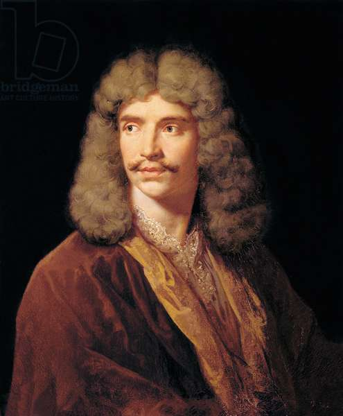 Portrait of Jean-Baptiste Pocquelin, dit Moliere. Painting by Jean Baptiste Mauzaisse (1784-1844) after the painting by Mignard Pierre (1612-1695).