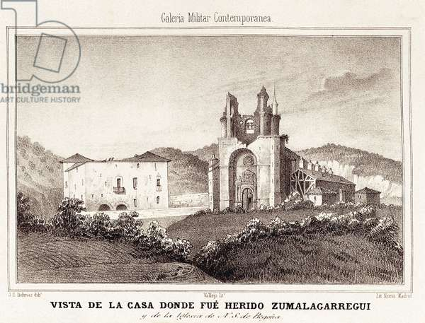 First Carlist War (1833-1840): the house or Carlist General Tomas Zumalacarregui (1788-1835) was injured after the siege of Bilbao, 19th (engraving)