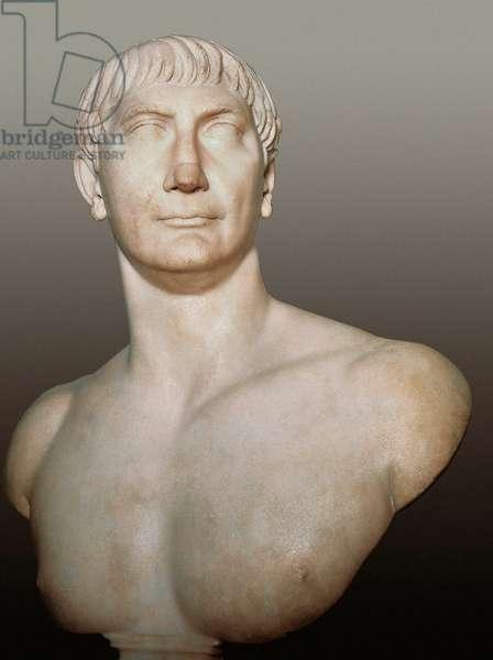 Bust of Emperor Trajan (Marcus Ulpius Traianus) (98-117 AD), c. 108 (marble)