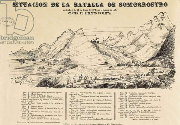 Third Carlist War (1872-1876): map of the Battle of Somorrostro in the Basque Country on 25/03/1874 (engraving)