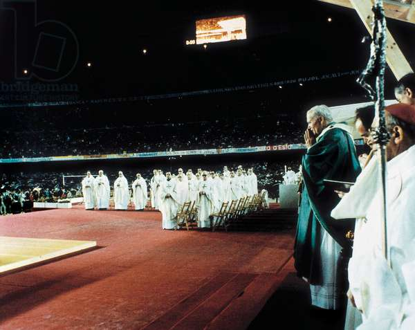 Visit of Pope John Paul II (John Paul) (Karol Wojtyla) (1920-2005) to Barcelona in 1982. spain