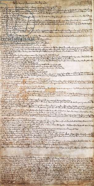 Carta Magna (1212): The Great Charter or Magna Carta is a charter of 63 articles ripped by the English barnage from King John without Land on 15 June 1215 after a short civil war. Manuscript Add. MS 4838. The British Museum. England.