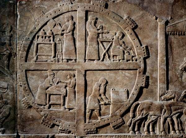 Scenes of everyday life, c.645 BC (stone bas relief)