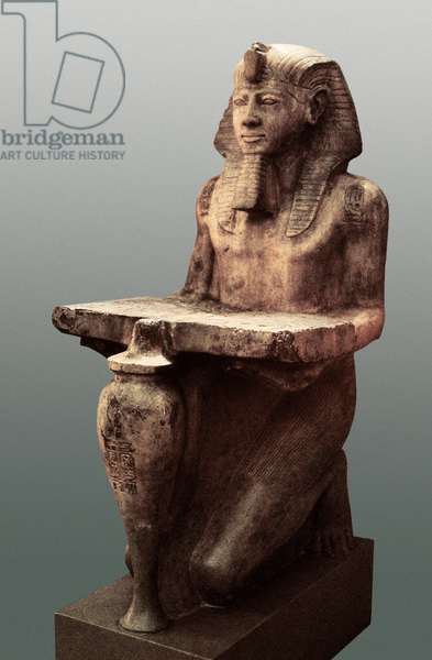 Ramses II with Abydos table, c. 1280 BC (limestone sculpture)