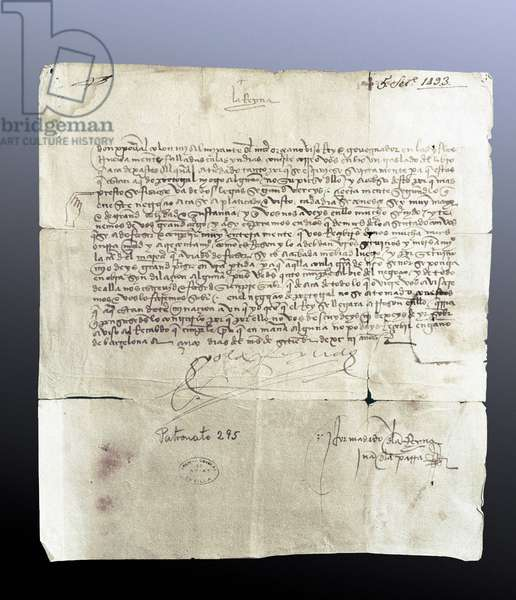 Letter from the Queen of Spain Isabella I of Castile to the navigator Christopher Columbus, September 5, 1493
