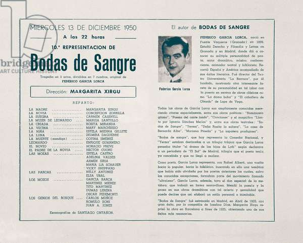 "Poster for the piece """" Bodas de sangre """" (Wedding of Blood) by the Spanish poet and playwright Federico Garcia Lorca (1898-1936) staged by Margarita Xirgu, 12/13/1950. Fundacion Federico Garcia Lorca. Madrid."