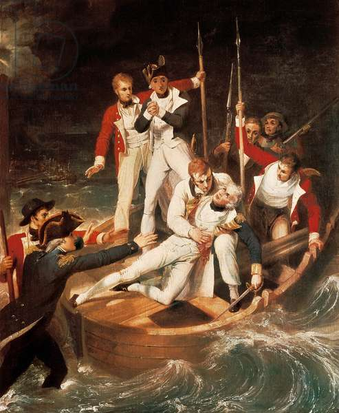 Admiral Horatio Nelson (1758-1809) injured his arm in Tenerife on 24/07/1797. Painting by Richard Westall (1765-1836). 1806.