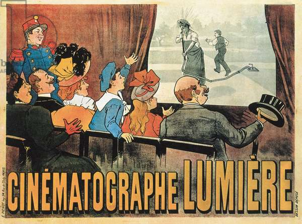 'The Waterer Watered', poster advertising Cinematographe Lumiere, 1896 (coloured engraving)