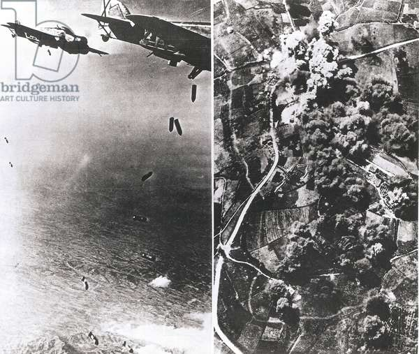 Bombardment of Banyoles by the bomber Saviola 69 of the nationalist aviation, 1936-1939 (b/w photo)