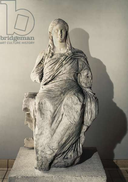 The Goddess Demeter, Sculpture from the shrine of Demeter in Knidos in Turkey, c. 350-330 BC (marble)