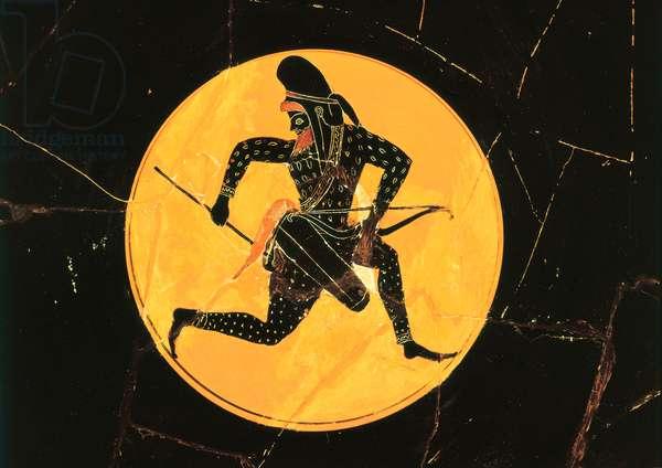 Coupe avec la representation d'un archer perse. Cermaique datee du 6eme siecle av JC. Musee du Louvre, Paris.