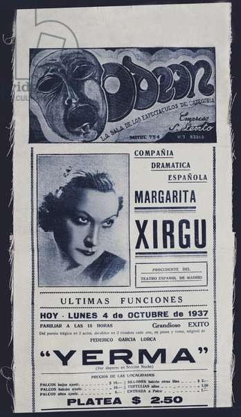 """Poster for the piece """""""" Yerma """""""" by Federico Garcia Lorca (1898-1936) directed by Margarita Xirgu at the Odeon teatro in Buenos Aires, Argentina. 4/10/1937 Fundacion Federico Garcia Lorca. Madrid."""