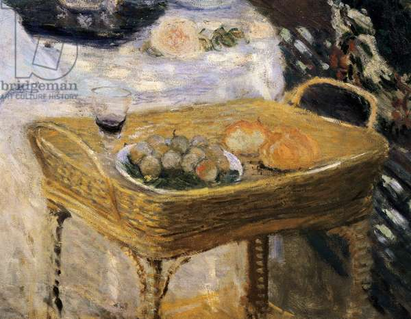 The lunch, decorative panel showing the garden of Monet in Argenteuil 9detail), 1873-74 (oil on canvas)