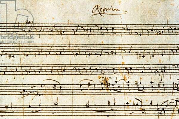 Autograph score of Requiem, K. 626 by Austrian composer Wolfgang Amadeus Mozart (1756-1791)