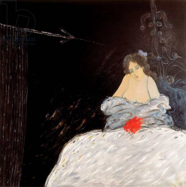 The emptiness that is hidden. Painting by Agustin Ubeda (1925-2007), oil on canvas, 20th century. Spanish art
