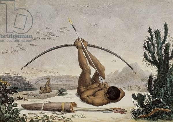 Native Archers, Illustration from the Travels in the Interior of Brazil, 1834 (drawing)