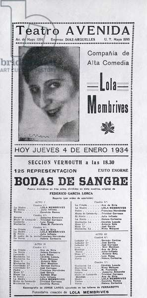 """Poster for """""""" Bodas de sangre """""""" (Blood Wedding) by Federico Garcia Lorca (1898-1936). January 1934, Teatro Avenida. Argentina Fundacion Federico Garcia Lorca. Madrid."""