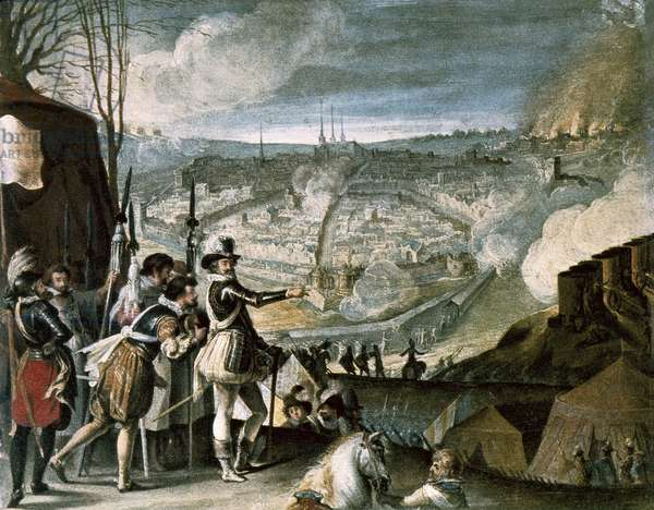 Camp of troops of Henry IV, oil on wood, early 17th century