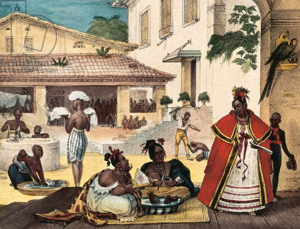 women  Guarani, Interior of a gipsy's house, Brazil, 1839 (colour litho)