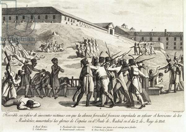 Spanish War of Independence (1808-1814). Repression of the French army in Madrid after May 2, 1808 (engraving)