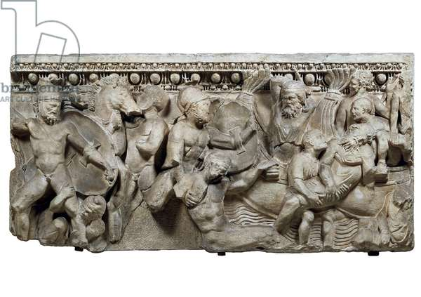 Roman art: the athenians fight back the Persian invaders during the Marathon Battle 490 AD low relief on the sarcophage of the roman imperial period